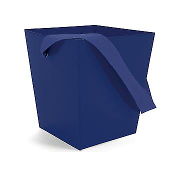 SALE - Navy Blue Square Board Gift Bucket with Ribbon Handles