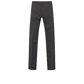 Dobell Mens Black and Grey Striped Morning Suit Wedding Trousers Regular Fit Wool Blend