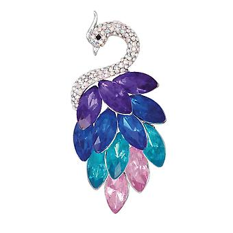 Eternal Collection Magnificence Multi Crystal Silver Tone Peacock Brooch