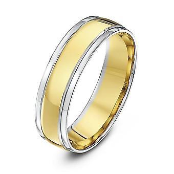 Anneaux de mariage Star blanc 18ct & jaune or Cour façonner 6 mm bague de mariage
