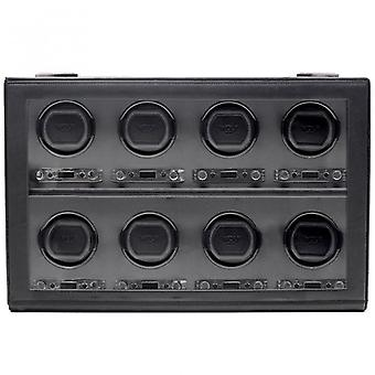 Wolf Designs Viceroy Black Leather & Grey 8 Piece Watch Winder 2.7