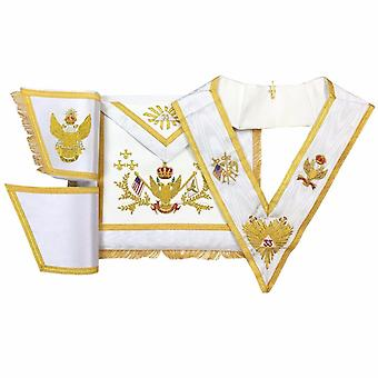 Rose Croix 33rd Degree Hand embroided Apron Set 'WINGS UP' USA Flag