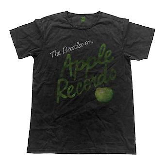 The Beatles T Shirt Apple Records band logo Official Mens Vintage Finish Black