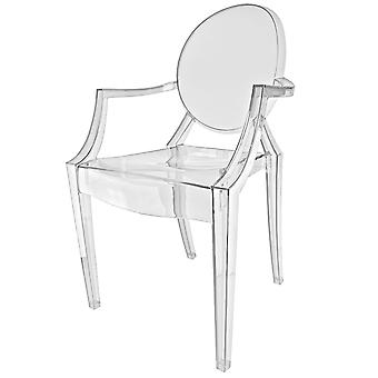 Fusion Living Crystal Clear Ghost Style Plastic Louis Armchair