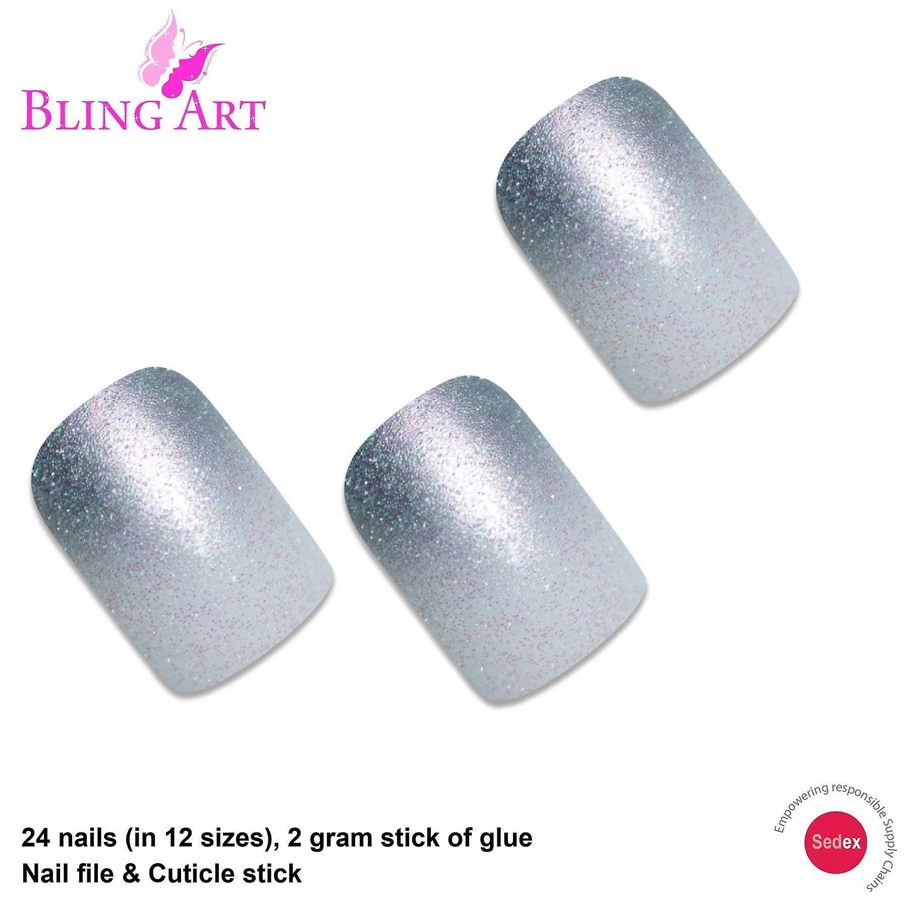 False nails by bling art silver gel ombre french squoval 24 fake medium tips