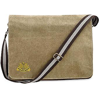 South Nottinghamshire Hussars - Concesso in licenza British Army Ricamato Vintage Canvas Despatch Messenger Bag