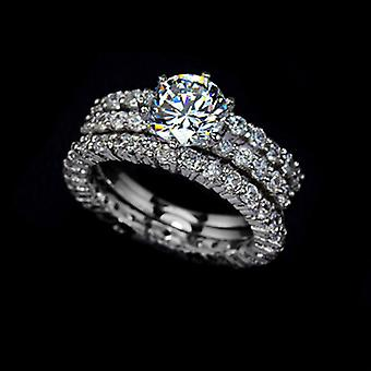 18K Gold plated 1.75 Carat Swiss Cubic Zirconia 3 Rings Set