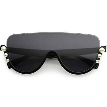 Oversize Bold Shield Semi-Rimless Embellished Pearl Accent Sunglasses