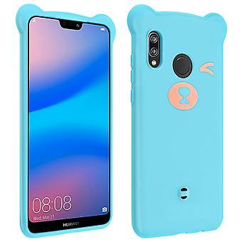 Huawei P20 Lite Teddy Bear 3D Soft Case - Light Blue and Pink