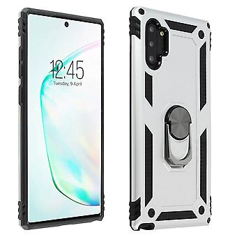 Samsung Galaxy Note 10+s Case Bi Material Rigid Soft Magnetic Ring Stand Silver