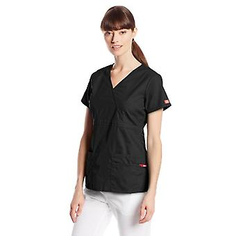 Dickies Women's EDS Signature Scrubs Jr. Fit Mock Wrap Top,, Black, Size X-Small