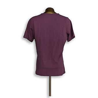 Denim & Co. Women's Top Essentials Jersey Short-Sleeve Purple A200149