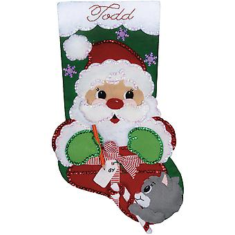 Santa's Geschenk Stocking Felt Applique Kit 18