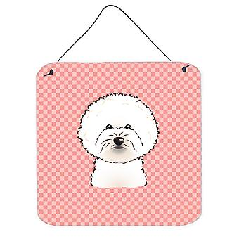 Checkerboard Pink Bichon Frise Wall or Door Hanging Prints BB1217DS66