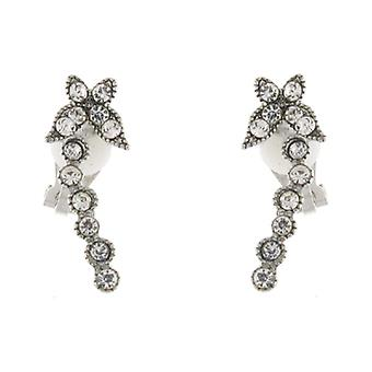 Clip On Earrings Store Silver & Clear Crystal Petite Butterfly Clip On Earrings
