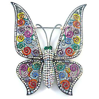 Butler and Wilson Large Filigree and Multi Crystal Butterfly Brooch