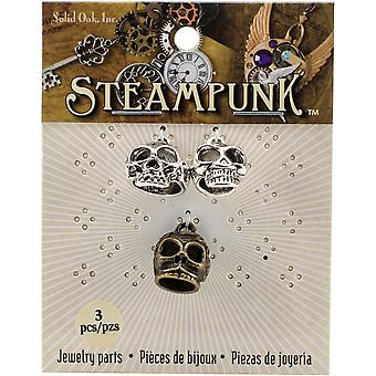 Steampunk Metal Accents 3/Pkg-Skulls W/Hanging Loops STEAM185