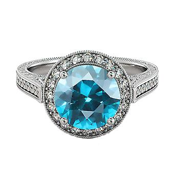 2.10 ctw Blue Topaz Ring with Diamonds 14K White Gold Halo Filigree With Accents