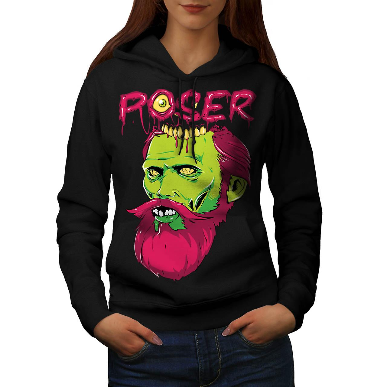Poser Monster Rock Zombie Women Black Hoodie | Wellcoda