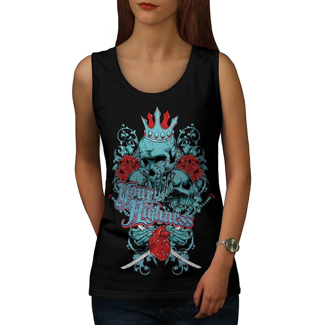 Your Highness King Skull Women Black Tank Top | Wellcoda