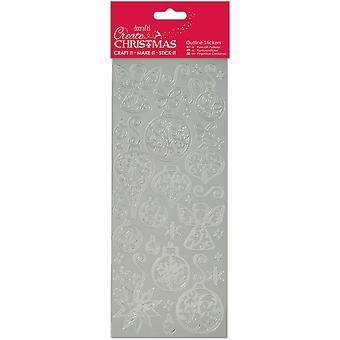 Papermania maken Outline Stickers-Silver kerstballen & engelen PM810924
