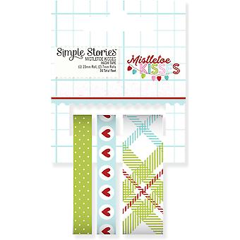 Mistletoe Kisses Washi Tape 36' Total-3 Rolls - (1) 15mm & (2) 7mm MK7442