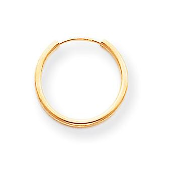 14k amarillo oro hueco pulido interminable aro pendientes -.4 gramos - medidas 15x15mm