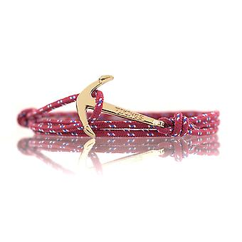 Vikings Gold-Line Anker Armband Nylon in Bordeaux-Rot mit Goldenem Anker