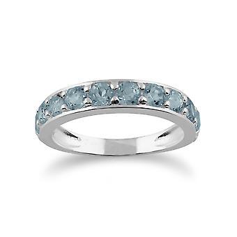 Gemondo 925 Sterling Zilver 1.72ct Blue Topaz halve eeuwigheid Ring