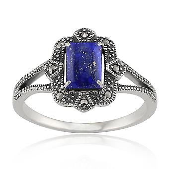 Gemondo Sterling Silver 0.9ct Lapis Lazuli & 8.8pt Marcasite Art Deco Style Ring