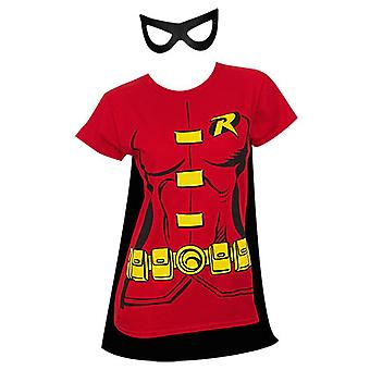 Robin Cape And Mask Women's Costume Tee Shirt