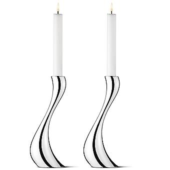 Georg Jensen 2 piece Cobra candleholder tall polished stainless