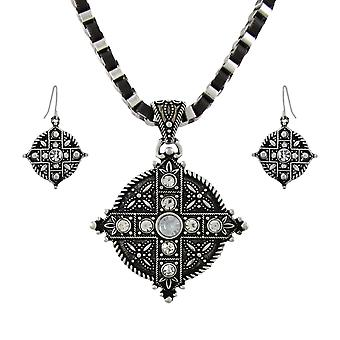 Marcasite Rhinestone Equal Armed Cross Necklace and Earrings Set