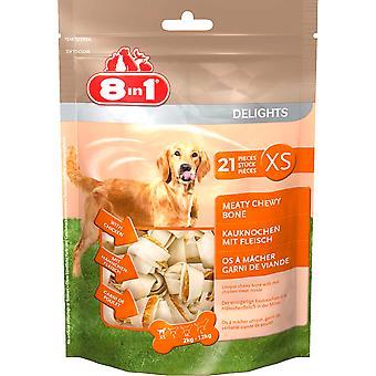 8 en 1 perro delicias cuero valor bolso Xs (paquete de 4)