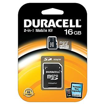 Duracell 16GB micro SDHC Class 4 Memory Card 2 in 1 Mobile Kit inc SD Adapter.