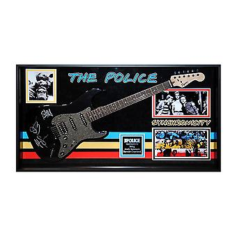 The Police Band Signed Guitar Synchronicity in Framed Case COA