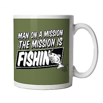 Vectorbomb, Man On A Mission, Funny Fishing Mug
