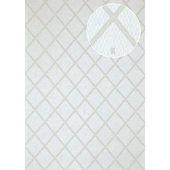 Graphic wallpaper Atlas PRI-065-1 non-woven wallpaper smooth with shimmering diamond pattern white aluminium grey silk gray silver-gray 7,035 m2