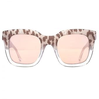 Guess Two Tone Leopard Print Sunglasses In Light Brown