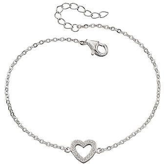 925 Silver Heart And Zirconia Bracelet Stretch