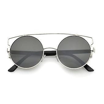 Steampunk Open Metal Double Nose Bridge Round Flat Lens Aviator Sunglasses 53mm