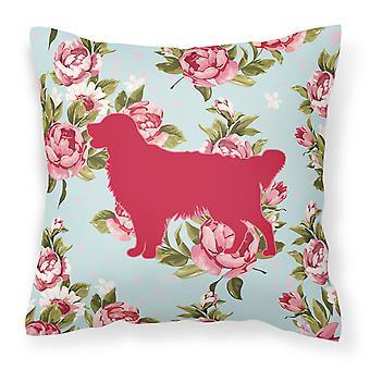 Golden Retriever Shabby Chic Rose blu tela tessuto cuscino decorativo