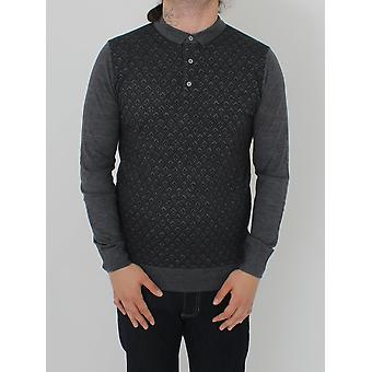 Remus Uomo Long Sleeve Knitted Polo - Steel