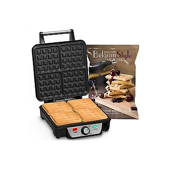 Andrew James 4 Slice Belgian Waffle Maker With Adjustable Temperature And 1kg Belgian Style Waffle Mix