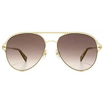 Marc Jacobs Metal Twist Pilot Sunglasses In Gold Havana