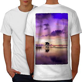Beautiful Sky Sea Men WhiteT-shirt Back   Wellcoda
