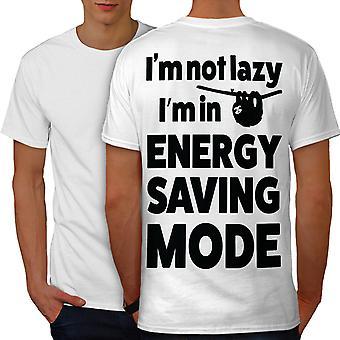 Energy Saving Mode Men WhiteT-shirt Back | Wellcoda