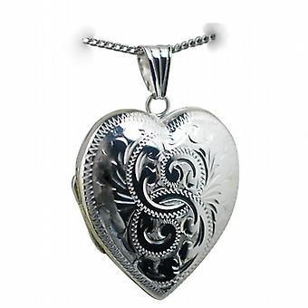 Silver 30x28mm engraved heart shaped Locket with a curb Chain 18 inches