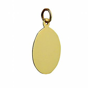 9ct Gold 20x15mm plain oval Disc