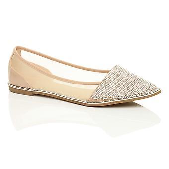 Ajvani damskie diamante przycięcia palców szpiczaste płaskie poślizgu na siatki dolly baleriny komfort butów